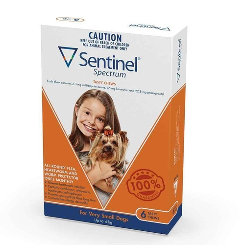 Sentinel Spectrum Flea, Heartworm & Intestinal Wormer - Dogs up to 4kg - 6-Pack main image