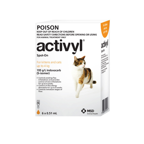 Activyl Spot-On Flea Control for Small Cats Up to 4kg - Orange (6 Dose Pack)