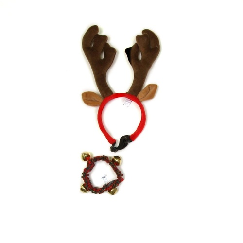 Outward Hound Antler & Collar For Dogs & Cats - with Bells Combo Pack main image