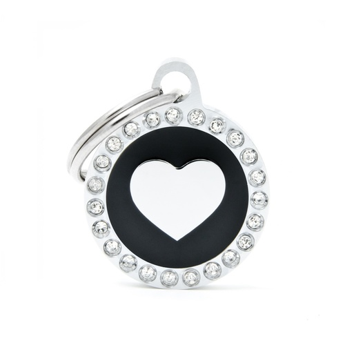 My Family Pet ID Tag Glam Heart Black ~ Includes FREE Engraving