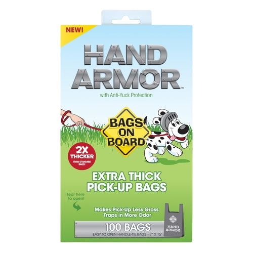 Bags on Board Hand Armor Dog Waste Pick up Bags - Extra Thick Handle Tie Bags - 100 Bags main image