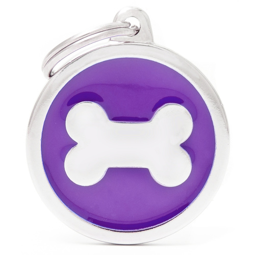 My Family Pet ID Tag Classic Bone Purple Large ~ Includes FREE Engraving