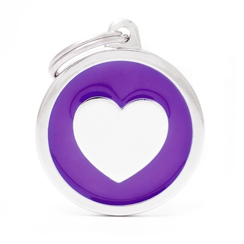 My Family Pet ID Tag Classic Heart Purple ~ Includes FREE Engraving