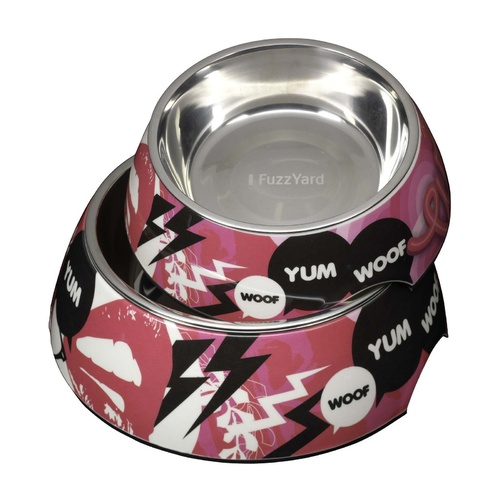 Fuzzyard Melamine & Stainless Steel Dog Bowl - Loudmouth
