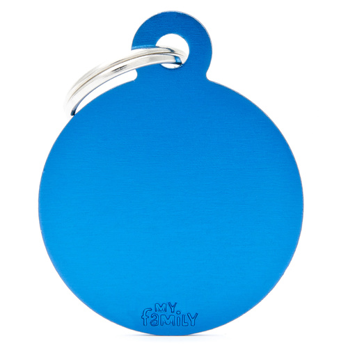 My Family Pet ID Tag Large Blue Circle - Includes Engraving