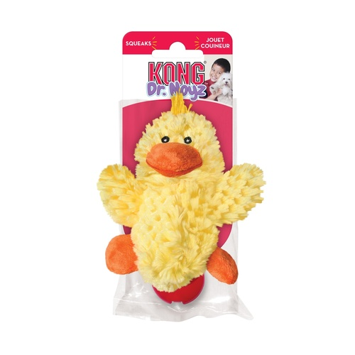KONG Plush Dr Noyz No Stuffing Duck Toy for Small Dogs with Replacement Squeakers