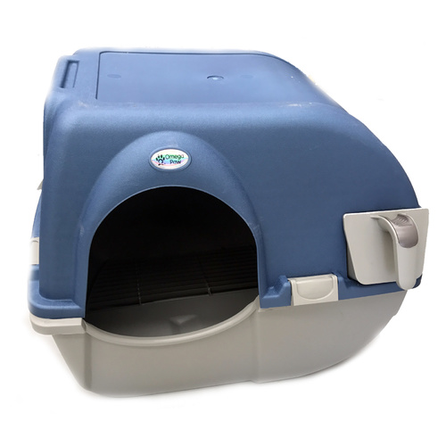 Omega Roll'n Clean Easy Clean Cat Litter Box - Large with Blue Lid