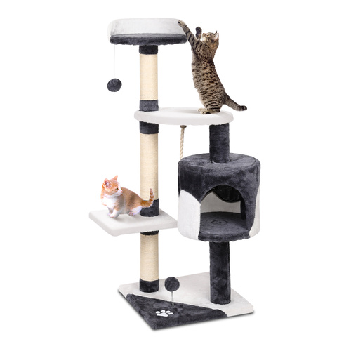 Cat Tree 112cm Trees Scratching Post Scratcher Tower Condo House Furniture Wood main image
