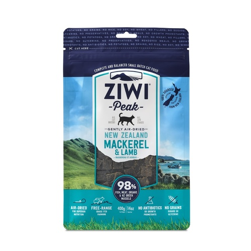 Ziwi Peak Air Dried Cat Food 400g Pouch - Mackerel & Lamb