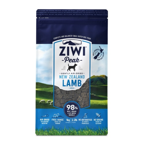 Ziwi Peak Air Dried Dog Food 1kg Pouch - Lamb
