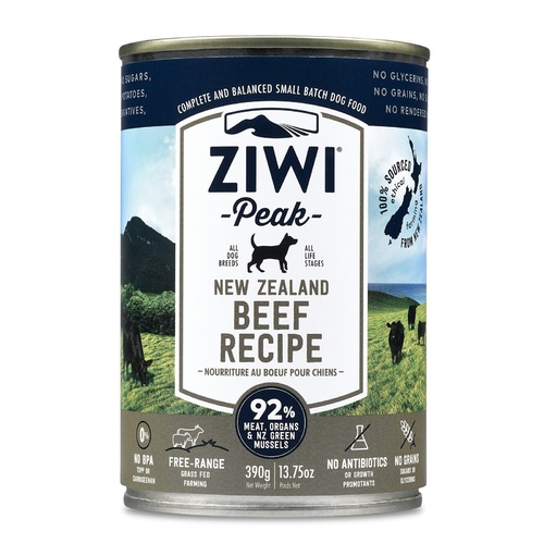 Ziwi Peak Moist Dog Food - Free Range Beef - 390g x 12 Cans