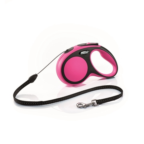 Flexi Comfort Cord Retractable Dog Leash in All Sizes - 5 meters in Pink